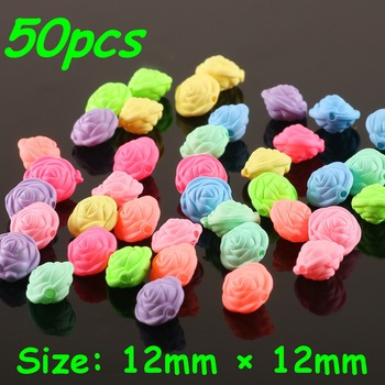 50Pcs 12mm*12mm New Sew On Candy Color Round Rose Flower Beads Making jewelry DIY Handmade necklace Kids Women Wedding Party