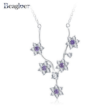 FiyatPazar.co  925 Sterling Silver Exquisite Flower Pendant Necklaces For Women Elegant Jewelry Mother's Gift PSNL0014-B