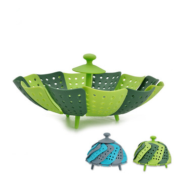 Folding Drain Fruits Baskets Folding Plastic Home Fruits Vegetable Storage Basket Plate BC271